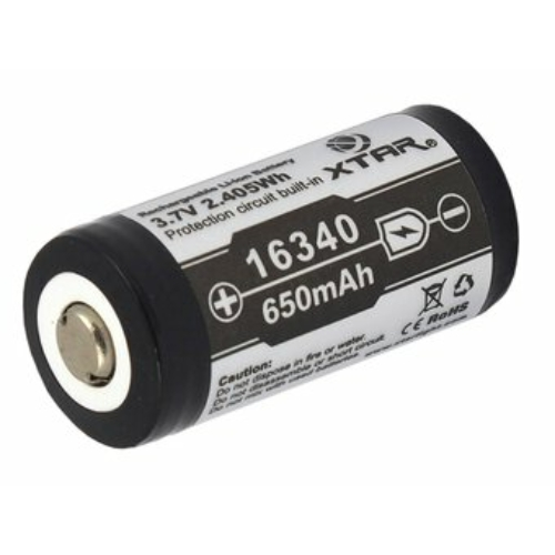 16340 Xtar Li-ion 3,7V 650mAh akkumulátor elektronikával 123A méretű