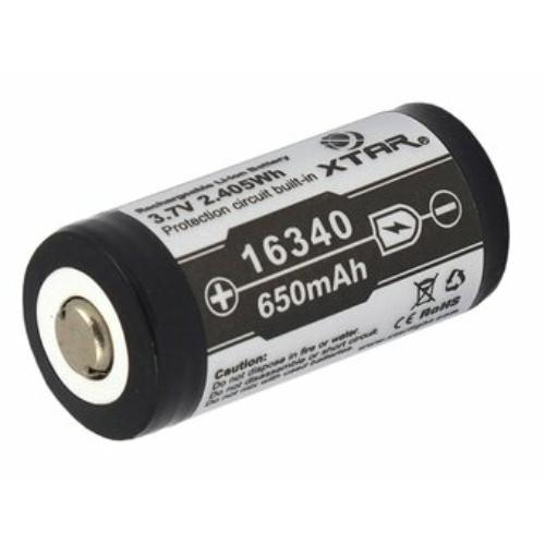 123A méretű 3,7V 650 mAh Xtar 16340 Li-ion akkumulátor védőelektronikával