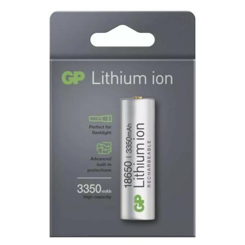 18650 GP 3,7V 3350mAh lítium akkumulátor 18,3*65,5mm védőelektronikával
