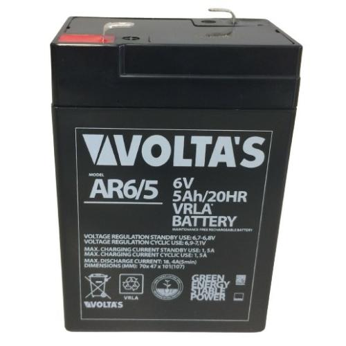 6V 5Ah zárt savas ólom akkumulátor 70*47*107 F1 csatlakozóval