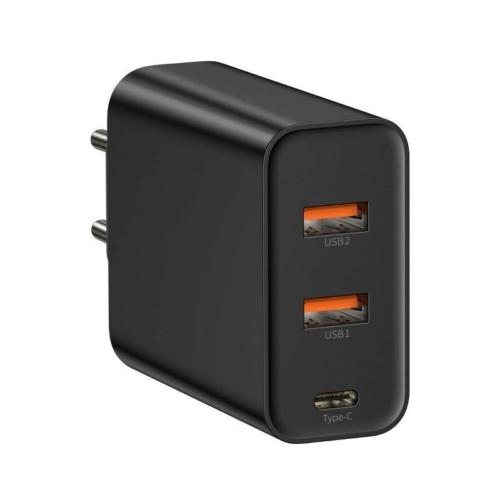 Baseus gyorstöltő adapter két QC3.0+1 USB-C kimenettel 5A/60W max.