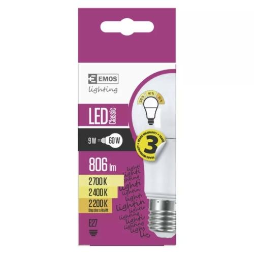 EMOS dimmelhető LED izzó A60 9W E27 2700K