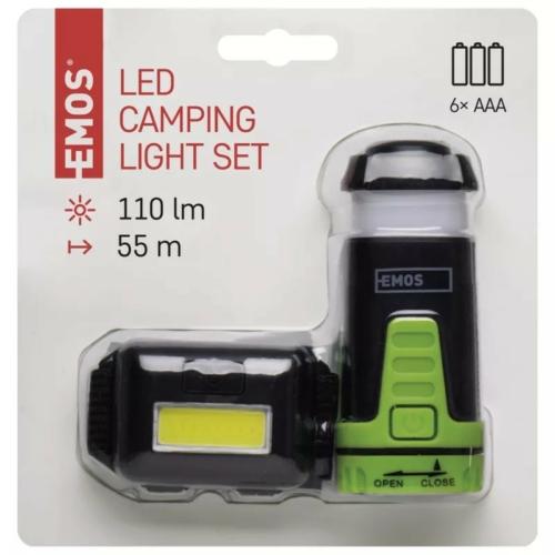 EMOS fejlámpa készlet COB LED+Mini kempinglámpa