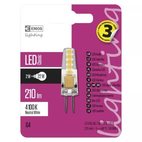 Emos LED izzó 2W G4 foglalat COB leddel 4000K 12V