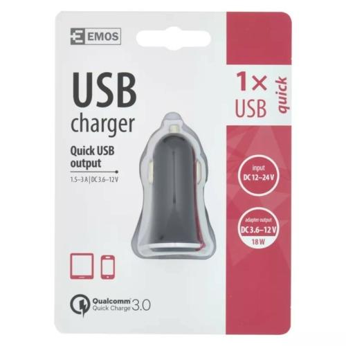 EMOS univerzális 12V gyorstöltő USB kimenettel 3A