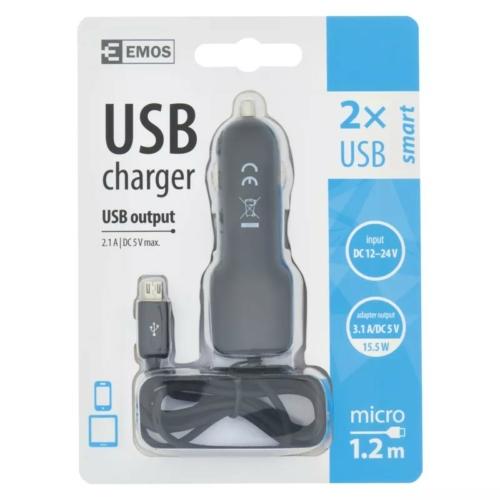 EMOS univerzális 12V töltő USB kábellel, kimenettel 3,1A