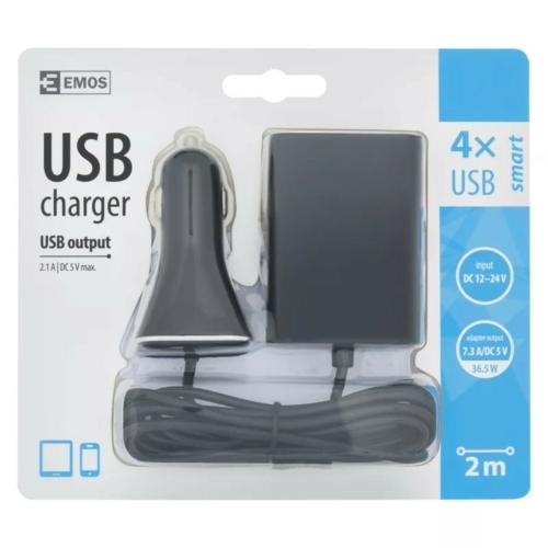 EMOS univerzális 12V töltő USB kábeles kimenettel 6,8A