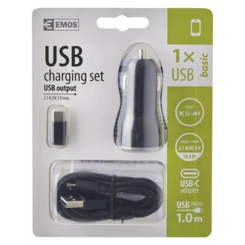 EMOS univerzális 12V töltő USB kábellel, átalakítóval 2,1A