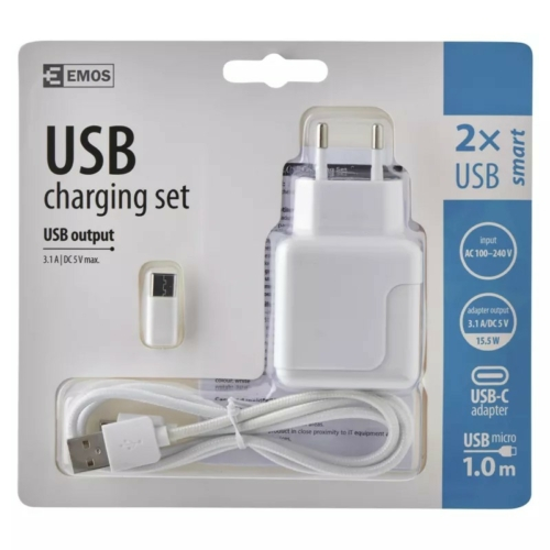 EMOS univerzális szivargyújtó töltő USB kábellel, átalakítóval 3,1A