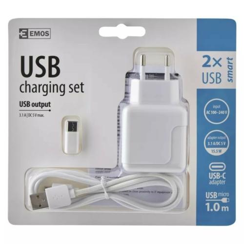 EMOS univerzális töltő adapter USB kábellel, átalakítóval 3,1A 15,5W