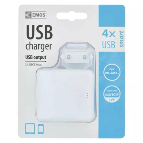 EMOS univerzális USB töltő adapter 6,8A