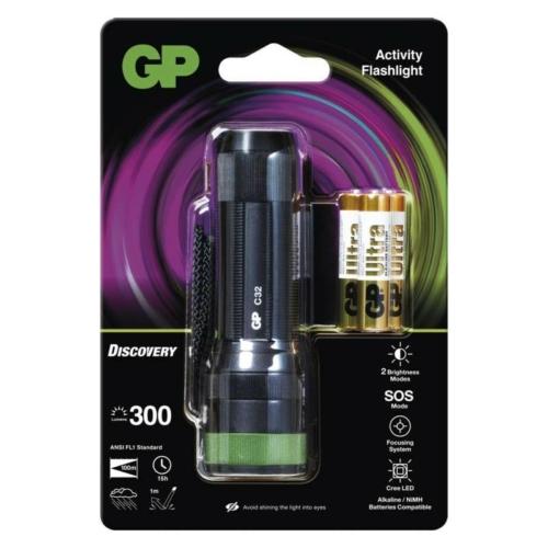GP Discovery C32 ledes lámpa + 3db 24AU AAA elem