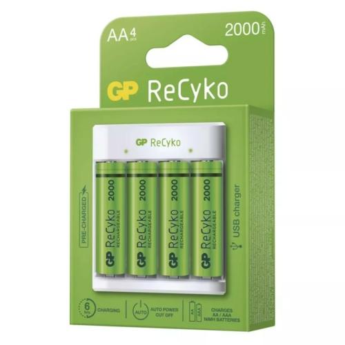 GP E411 USB töltő 4 db 2100mAh AA akkuval