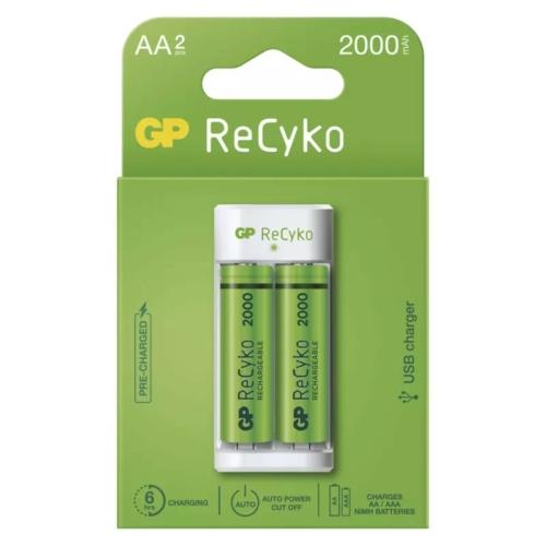 GP Eco E211 USB töltő + 2db AA 2000mAh Recyko akku