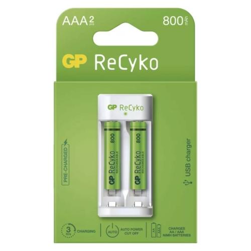 GP Eco E211 USB töltő + 2db AAA 800mAh Recyko akku