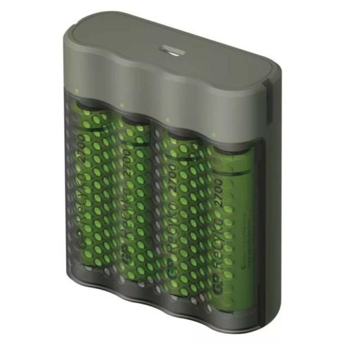 GP M451 USB gyorstöltő + 4 db AA 2600mAh Recyko akku