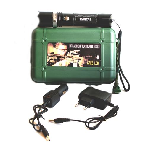 Tölthető rúdlámpa Cree Q5  Leddel + 12V szivargyújtó+220V+Li-ion akku