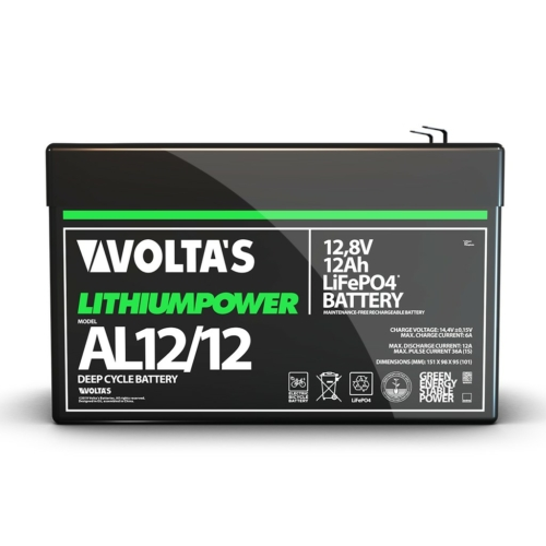 Voltas 12,8V 12Ah LiFePO4 lítium vasfoszfát akkumulátor 151*65*95