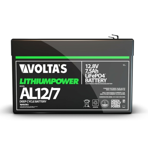 Voltas 12,8V 7,5Ah LiFePO4 lítium vasfoszfát akkumulátor 151*65*95