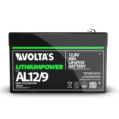 Voltas 12,8V 9Ah LiFePO4 lítium vasfoszfát akkumulátor 151*65*95
