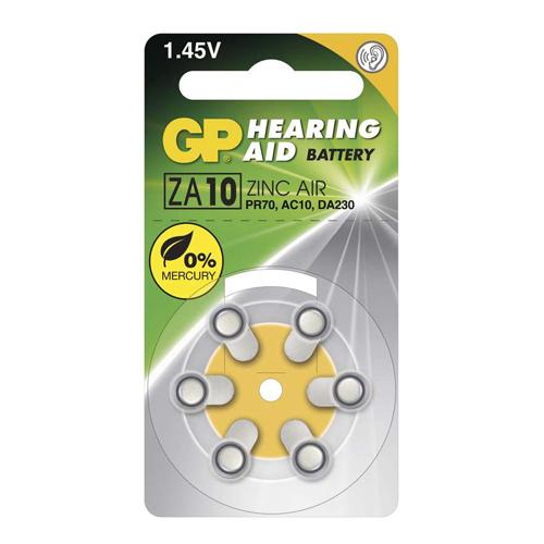 ZA10 / PR70 GP Cink-levegő hallókészülék elem 75mAh 5,8*3,6mm