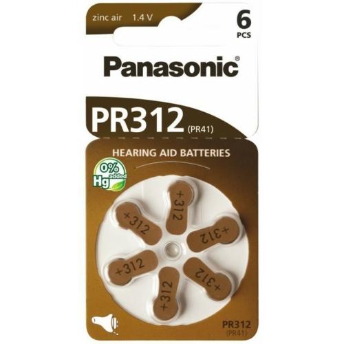 ZA312 / PR41 Panasonic Cink-levegő hallókészülék elem 75mAh 5,8*3,6mm